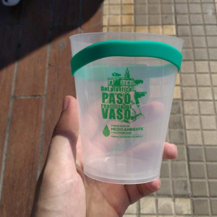 vaso reciclable de la feria 2019