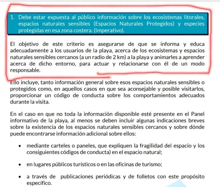criterio 1 imperativo del reglamento de banderas azules